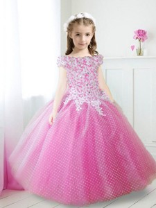 Cheap Off the Shoulder Cap Sleeves Flower Girl Dress with Appliques and Beading