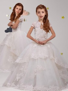 Unique Scoop Short Sleeves White Flower Girl Dress with Lace