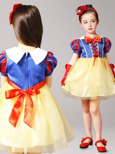 Gorgeous Mini Length Short Sleeves Flower Girl Dress in Yellow and Blue