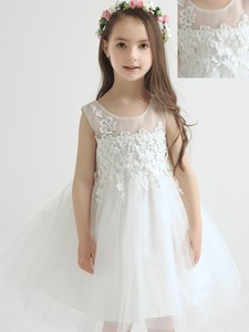 Beautiful Knee Length Flower Girl Dress with Appliques and Bowknot