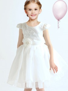 Best Organza Cap Sleeves White Flower Girl Dress with Applique and Bowknot