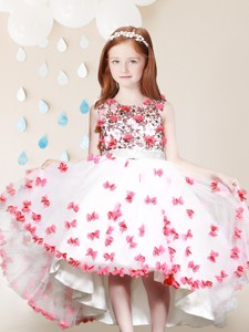 Cheap Applique and Laced High Low Flower Girl Dress in White and Red