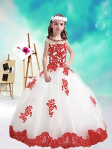 Lovely Beaded And Appliques Little Girl Pageant Dress In White And Red