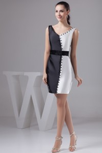 Beautiful V-neck Black And White Nightclub Dress With Wide Sash And Beading