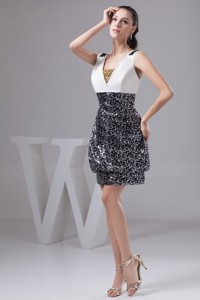 Elegant Black And White Beading Decorate Nightclub Gown Dress