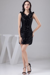 Black Mini-length Nightclub Gown Dress With Rolling Flower And Ruching