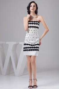 Popular White Mini-length Taffeta Nightclub Gown With Black Embellishment