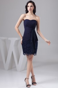 Navy Blue Bowknot Decorate Nightclub Gown Dress In Chiffon And Lace