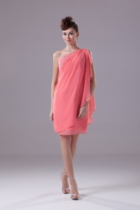 Watermelon Beading One Shoulder Knee-length Nightclub Dress