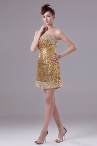 Column Gold Strapless Short Sequin Nightclub Dress