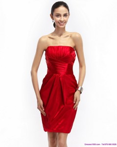 Most Popular Strapless Ruching Nightclub Dress In Red