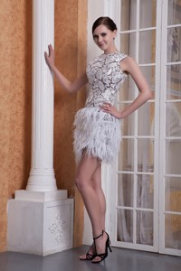 New Style White Column Scoop Feather And Elastic Woven Satin Nightclub Wear Mini-length