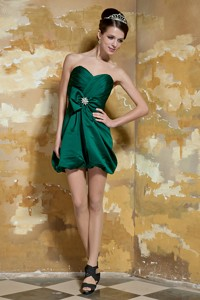 Dark Green Column Sweetheart Mini-length Taffeta Beading Nightclub Dress