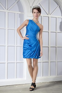 Sky Blue Column One Shoulder Mini-length Taffeta Beading Nightclub Dress
