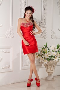 Low Price Red Column Sweetheart Nightclub Wear Satin Beading Mini-length
