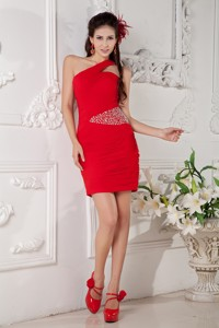 Customize Red Column One Shoulder Nightclub Wear Chiffon Beading Mini-length
