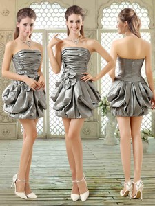 New Style Short Strapless Silver Nightclub Dress With Pick Ups