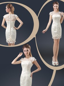 Elegant Mini Length Cap Sleeves Nightclub Dress With Appliques
