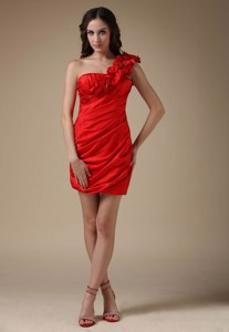 Sexy Red Column One Shoulder Nightclub Wear Elastic Woven Satin Hand Made Flower And Ruch Mini-lengt