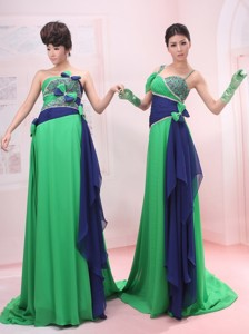 Bowknot Empire Strapless And Straps Chiffon Green Brush/sweep Maxi Dress