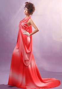 Ombre Color Halter Applqiues Decorate Bust Maxi Dress With Chiffon For Party In Konnevesi Finla