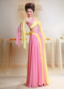 Unique Baby Pink And Yellow Chiffon Cross Neck Maxi / Evening Dress For Custom Made In Pulloxhill Be
