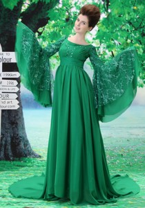 Custom Made For Maxi Dress With Scoop Long Sleeves Green In Harrisburg