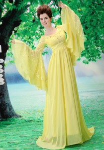 Custom Made For Maxi Dress With Scoop Long Sleeves Yellow In Harrisburg