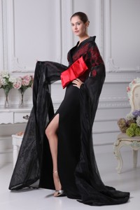 Bow Sash And Slit Decorated Long Sleeves Sweep Train Maxi Dress