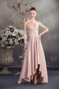 One Shoulder Hand Made Flowers High-low Holiday Dress