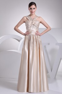 Straps Beading Satin Champagne Holiday Dress