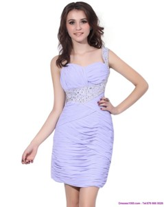 Exclusive Lilac Mini Length Holiday Dress With Rhinestones And Ruching
