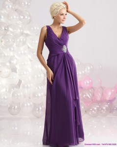 Elegant V Neck Floor Length Holiday Dress With Beading And Ruching