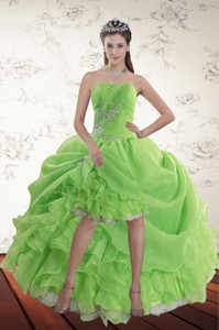 Spring Green High Low Holiday Dress With Ruffles And Beading