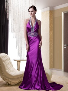 Eggplant Purple Halter Beading And Appliques Holiday Dress With Brush Train