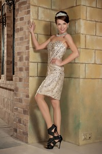 Champagne Column Sweetheart Short Holiday Dress Sequin Beading Mini-length
