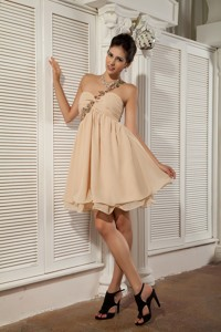Simple Champagne Holiday / Homecoming Dress Empire Sweetheart Chiffon Appliques Mini-length