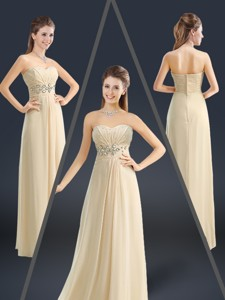 Latest Sweetheart Beading Holiday Dress In Champagne