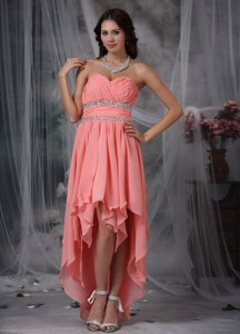 Watermelon Red Column Sweetheart High-low Chiffon Beading Holiday Dress