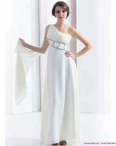 New Style One Shoulder White Prom Dress With Watteau Train And Beading