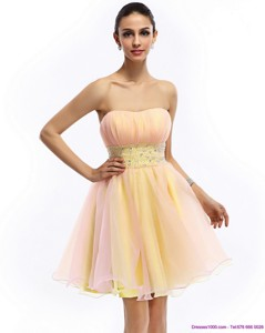 Beautiful Strapless Multi Color Prom Dress With Beading And Ruching