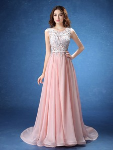 Pretty Scoop Baby Pink Chiffon Prom Dress with Lace and Belt