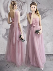Exquisite One Shoulder Lavender Long Prom Dress with Hand Made Flowers