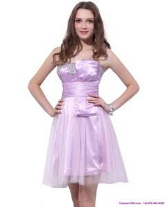 Lilac Strapless Mini Length Sweet 16 Dress With Ruffles And Beading