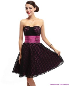 Lovely Sweetheart Mini Length Sweet 16 Dress With Lace