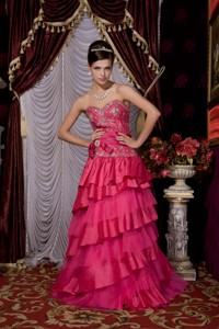 Hot Pink Sweet Fifteen Dress Sweetheart Taffeta And Tulle Beading Brush Train