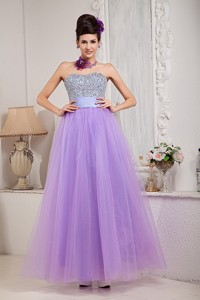 Exquisite Lavender Sweet 16 Dress Princess Strapless Beading Floor-length Tulle