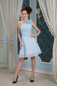 Baby Blue Sweet 16 Dress Under 100 Pricess One Shoulder Chiffon Hand Made Flowers