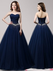 Lovely A Line Navy Blue Tulle Sweet 16 Dress With Beading