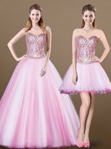 Lovely A Line Sweetheart Beading Detachable Sweet 16 Dress